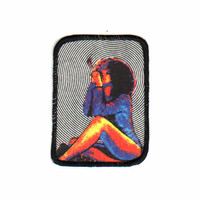 Girl smoking cigarette  iconic design 80's sew on vintage printed patch.  Stoner girl