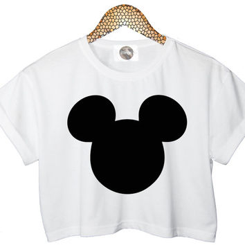 MICKEY MOUSE MINI customised top retro hipster swag dope yolo vtg punk handmade womens ladies funny crop top summer cute black white
