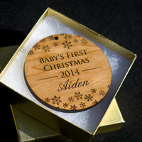 Baby's First Christmas Ornament - Personalized Christmas Ornament Engraved Premium Cherry Wood