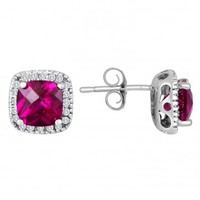 Felt Noir 10K White Gold Created Ruby and Diamond Stud Earrings - Halo - Collections