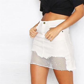 2017 Summer White Mesh Jeans Skirt Women Jupe Irregular Edges Denim Skirts Female Mini Saias Black Faldas Casual Pencil Skirt
