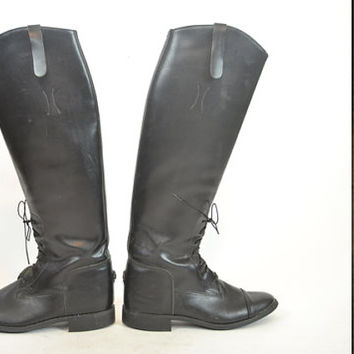 black LEATHER tall english hunting EQUESTRIAN RIDING lace-up boots, size 7 1/2 7.5 38 5 1/2