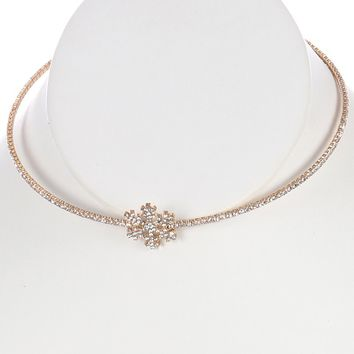Clear Snowflake Rhinestone Coil Wire Choker Necklace
