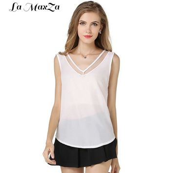Women Tank Top Summer V Neck Chiffon Vest Top Sleeveless Casual Tank Blouses Tops Sheer Mesh Patchwork T Shirt Bottom Camisole