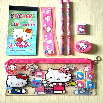 Kawaii Hello kitty stationery set for kids Cute  pencil case for girls ruler eraser Children gift Office School Supplies