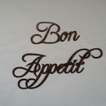 Bon Appetit Words Hammered Copper Finish Metal Wall Art