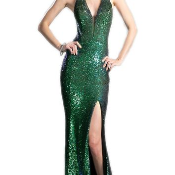 Cinderella Divine - Sleeveless Sequined Sheath Prom Dress With Train