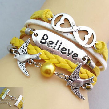 Yellow Wrap Believe Bracelet