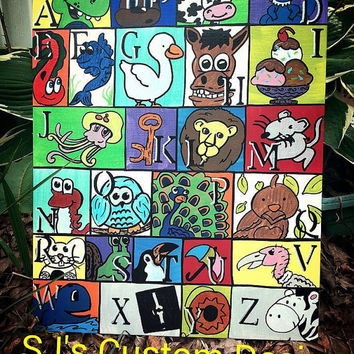 ABC Nursery Wall Decoration, One of a Kind ABC collage.