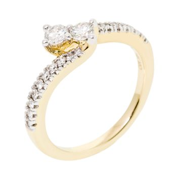 Diamond 0.55 CT Double Stone Head Engagement Ring 14K Gold