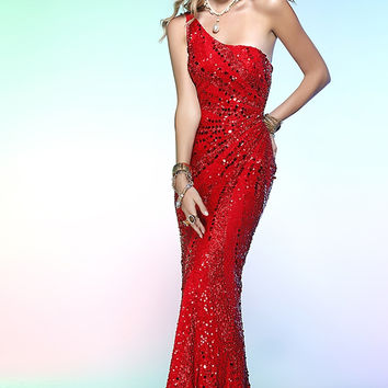 PRIMA Glitz GXL1408 Red Sequin One Shoulder Dress
