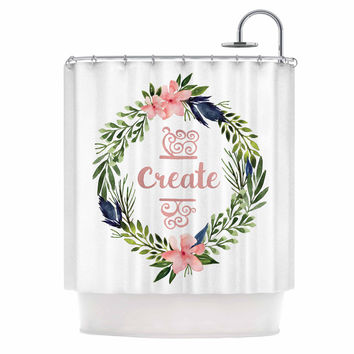 "KESS Original ""Create"" Typography Watercolor Shower Curtain"