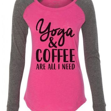 "Womens ""Yoga & Coffee Are All I Need"" Long Sleeve Elbow Patch Contrast Shirt"