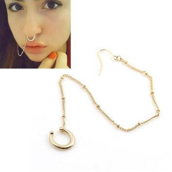 8SEASONS New Fashion Women Fake Piercing Hoop Nose Rings&Studs Ear Chain Girls Body Jewelry Summer Style 2 Colors, 1 Piece