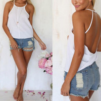 New Summer fashion Sexy Women vest Solid Color Halter Neck sleeveless T-shirt -0706