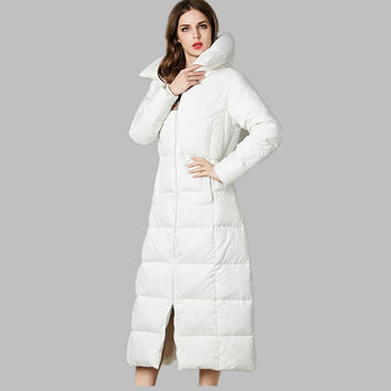 Women Black long down jacket,white duck down thick parka,warm winter jacket women fashion,turn down collar parka female TT1487