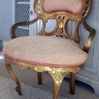 Antique Petite Gilded Boudoir Chair by VintiqueStudio on Etsy