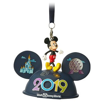 Disney Parks Walt Disney World Mickey 2019 Ear Hat Ornament New with Tags