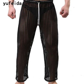 YUFEIDA New Hot Men Long Johns Underpants Fashion Hollow Out Breathable Nightwear Sexy Sleepwear Bathing Robe Gay Male Clubwear