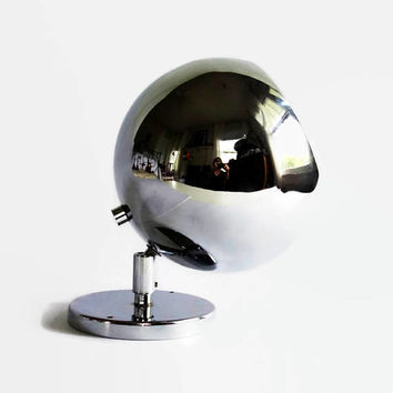 Mid Century Modern  Eyeball Light, Koch Lowy OMI, Vintage Atomic Age Chrome Orb Wall Sconce, Mod Spherical Wall Lamp