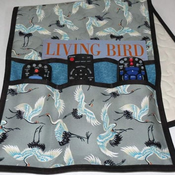 Quilted Armchair Caddy, Bedside Caddy, Sandhill Cranes, Grey Turquoise