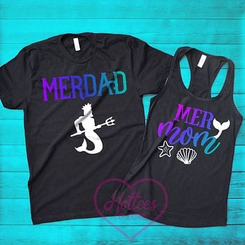 Mermom and Merdad Matching Mermaid Parents' Shirts