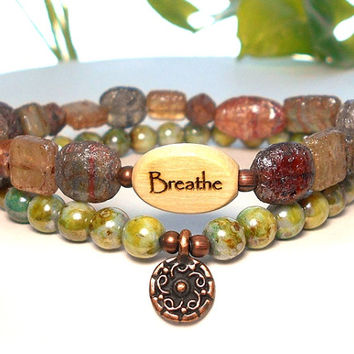 Breathe Bracelet, Yoga Bracelet, Yoga Jewelry, Sun Charm Bracelet, Just Breathe, Boho Bracelet, Bohemian Bracelet, Intention Bracelet