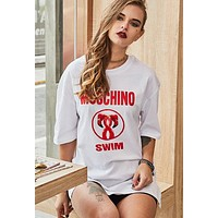 MOSCHINO Trending Women Leisure Red Letter Short Sleeve Round Collar T-Shirt Pullover Top White I12661-1