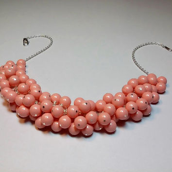 Swarovski Pink Coral Pearl Cluster Necklace, Wedding Bridesmaid Jewelry, Mothers Day Gift, Mom Sister Jewelry Gift, Chunky Necklace