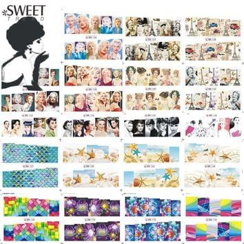60Sheets Woman Nail Sticker Nail Art Water Transfer Decals Flower/Starfish Mixed Manicure Watermark Full Wraps LABN121-180