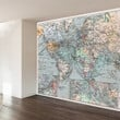 Vintage World Map Wall Mural Decal