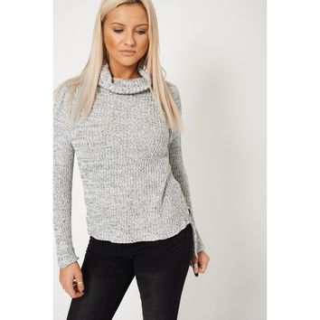 Ribbed Cowl Neck Knit Jumper