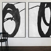 Large original abstract painting canvas 2 pieces, Contemporary Art, Large wall Art decor, Black and white art, large canvas art