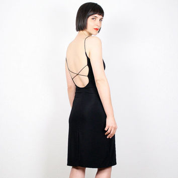 Vintage Backless Dress Black Dress 1990s Dress Grunge Bandage Dress Bodycon Dress 90s Dress Goth Dress Rave Club Kid Dress S Small M Medium