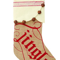 Burlap Jingle Stocking by Mud Pie