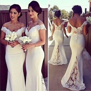 Vestidos De Festa 2015 Women Elegant Vintage Lace Splicing Deep V Neck Evening Party Wedding Formal Mermail White Lace Prom Dress#JTT [9221260420]