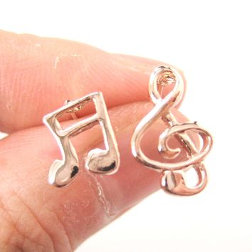 Simple Musical Note Shaped Stud Earrings in Rose Gold