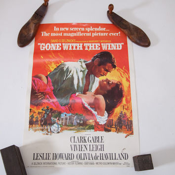 Vintage 70s Re-Release Gone With The Wind Original Poster