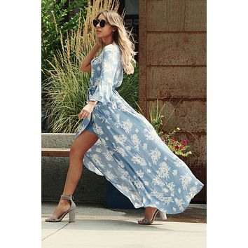 Let It Flow Maxi Dress (Blue/White)