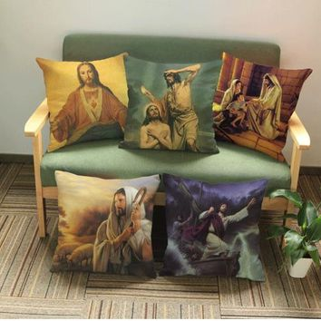 The Bible Story Of Jesus Christ Child Paintings Throw Emoji Massage Christmas Decorative Pillows Decor Church Religious Gift
