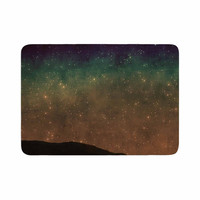 "Sylvia Coomes ""Star Light"" Teal Brown Memory Foam Bath Mat"