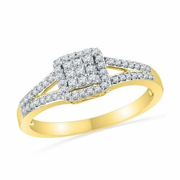 10kt Yellow Gold Women's Round Diamond Square Cluster Split-shank Ring 1-4 Cttw - FREE Shipping (USA/CAN)