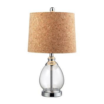 D142 Clear Glass Table Lamp in Polished Chrome