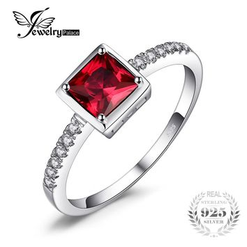 JewelryPalace Square Cut 0.7ct Created Red Ruby Ring Solid 925 Sterling Silver Solitaire Engagement Ring For Women Brand Jewelry