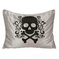Wake Up Frankie - Black Skull Iridescent Taffeta Standard Sham : Teen Bedding, Pink Bedding, Dorm Bedding, Teen Comforters