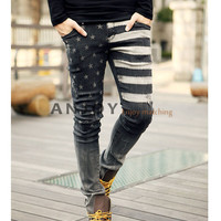 Cool US Flag Pattern Mens Stylish Super Slim Skinny Washed Jeans Trousers Pants