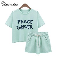 UNINICE Summer Short Suit Set Women's Clothing Plus Size 5XL Two Pieces Set Navel Exposed t-Shirt & Shorts Letter Printed Brand