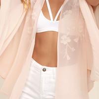 Posy Parlor Blush Pink Embroidered Kimono Top