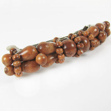 "Vintage Hair Clip with Wood Beads, 2.5"" Long / Brown Wood Bead Hair Clip - Peigne à Cheveux."