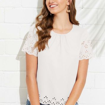 Gathered Neck Scallop Laser Cut Top